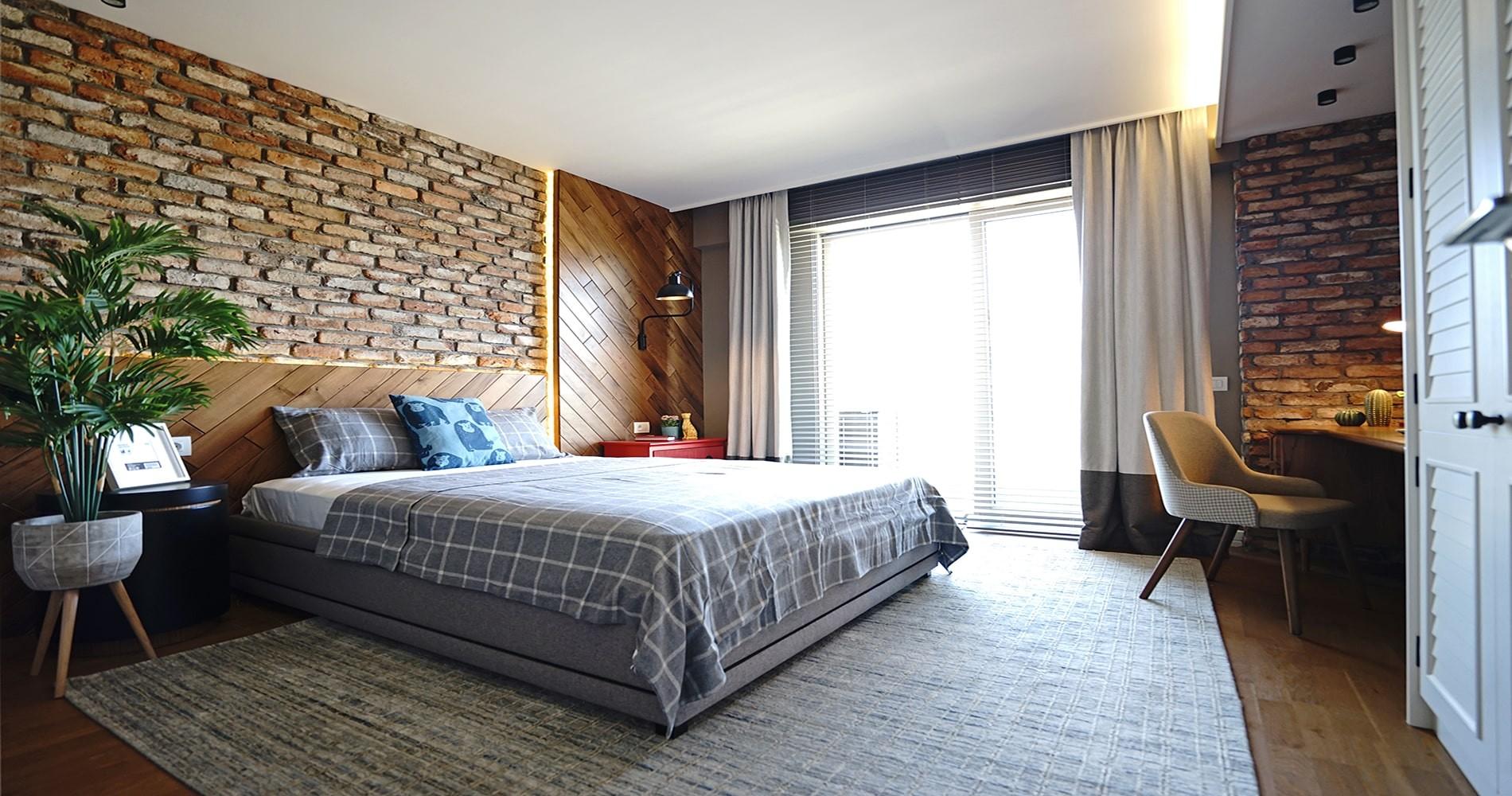 Tuğla Kaplama yatak odası
